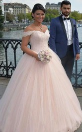 Appliqued Off-The-Shoulder Tulle Delicate Wedding Gown