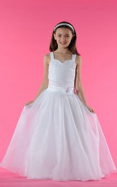 Double Strapped Pearls Organza Floral-Waist Flower Girl Dress