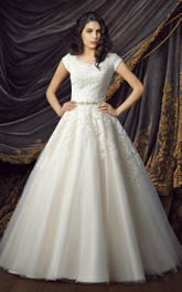 modest Short Sleeve A-line Tulle Satin Ball Gown With Appliques And Jeweled Waist