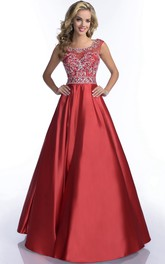 A-line Ball Gown Scoop-neck Satin Prom Dress With Beading And Low-V Back