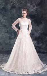 Long-Sleeve Es Wedding Satin Amazing High-Neckline Gown