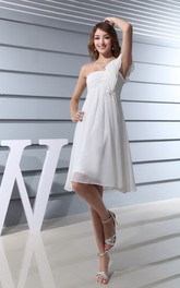 Ruched Single Strap Chiffon Asymmetrical Gown