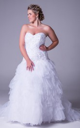 Sweetheart Appliqued plus size Wedding Dress With Cascading Ruffles