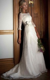 Bateau Half Sleeve Lace Wedding Dress With floral Embellished Waist