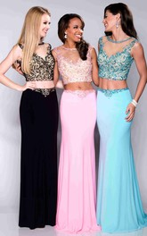 2-Piece Jeweled-Bodice Sleeveless Column Formal Jersey Dress