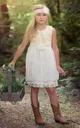 Floral Bust Sleeveless Country Flower Girl Dress