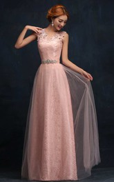 A-line Floor-length V-neck Sleeveless Tulle Dress with Appliques