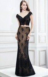 Pencil Floor-length V-neck Cap-sleeve Dress With Lace