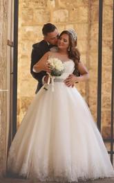 Lace Princess Ball-Gown Rhinestoned Illusion Newest Wedding Dress