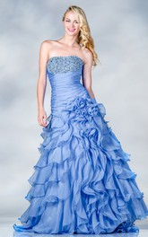 Strapless A-line Ruffled Prom Dress  With Tiers And Beading