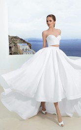 Sweetheart Simple High-Low Two-Pieces Sleeveless Dress