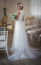 Long Satin Sash Wedding Bow Sleeveless Jewel Tulle Gown