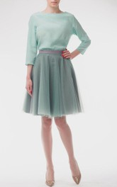 casual Bateau Long Sleeve short A-line Dress With Tulle skirt