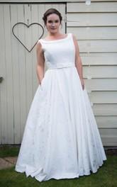 Bateau-Neckline Satin Floor-Length A-Line Lace Sleeveless Dress