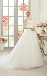 Ball Gown Floor-Length Bateau Long-Sleeve Illusion Tulle Lace Dress With Appliques
