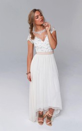 High-Low Lace Sequined Bodice Jewel-Neckline Illusion Wedding Gown