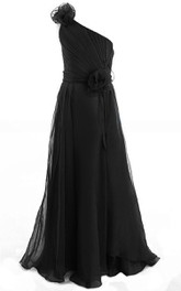One-shoulder A-line Chiffon Floor-length Dress With floral Epaulet