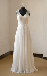 Sleeveless Lace Top A-Line Destination Wedding Gown