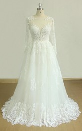 Lace Keyhole Back Wedding Tulle A-Line Satin Gown