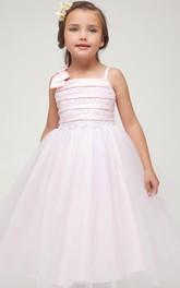 Slit-Front Embroidery Tea-Length Slit Satin Flower Girl Dress