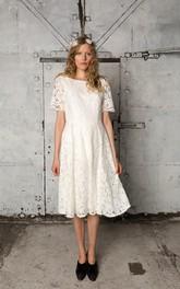 A-Line Short Sleeves Short Bateau-Neckline Wedding Gown
