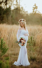Mermaid Off-the-shoulder Pleated Ruched Long Sleeve Brush Train Lace Maternity Wedding Dress