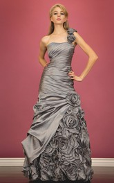 A-Line Side Draping Floral One-Shoulder Sleeveless Satin Dress