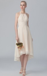 Haltered Chiffon High-low Sleeveless Ruched Bridesmaid Dress