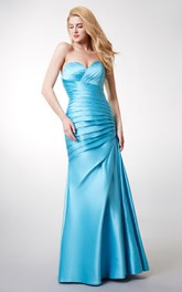 Sleeveless Lace-Up Back Ruched Elegant Satin Gown