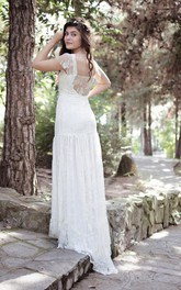 Lace Pleated Illusion Back Cap Bateau-Neck Gown