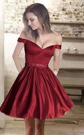 Sleeveless A-line Short Mini Off-the-shoulder Beading Pockets Ruching Satin Homecoming Dress