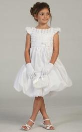 Taffeta Tiered Pleated Flower Girl Dress