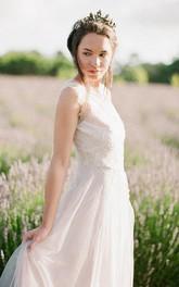 Long Beaded Wedding Sleeveless Jewel-Neckline Tulle Dress