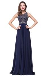 A-Line Rhinestoned Illusion Zipper Chiffon Modern Formal Gown