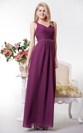 Long Jeweled Waist Formal Chiffon Graceful Floor-Length Dress