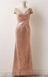 Floor-Length Low-V Back Sequined Short-Sleeve Dress