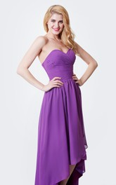 Sweetheart Criss-cross ruched High-low Bridesmaid Dress