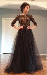 Bateau Lace Tulle Long Sleeve Floor-length Appliques Beading Pleats Dress