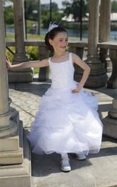 Princess Ruffled Skirt Organza Bateau-Neckline Flower Girl Dress