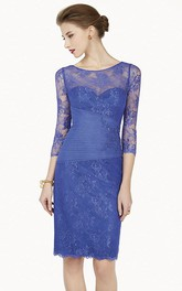Scoop-Neckline Midi Prom Appliqued Pencil Lace Long-Sleeve Dress