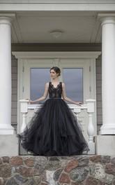 Floor-length Straps Black Wedding Dress A-Line Sleeveless Low-V Back With Ruffles Sash-Ribbon