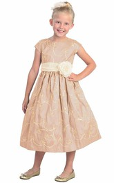 Bowknot Embroidery Floral 3-4-Length Flower Girl Dress
