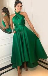 Halter Satin Sleeveless Ankle-length Backless Evening Dress with Ruffles