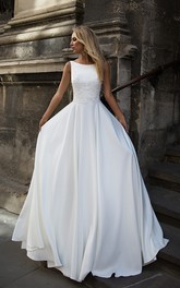 Simple Satin Bataeu Neckline Sleeveless Wedding Dress
