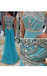 Sleeveless Jewel Neck Mermaid Long Chiffon Dress