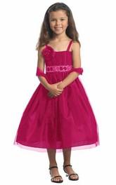 Sequined Cape 3-4-Length Spaghetti Flower Girl Dress