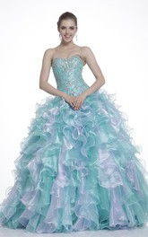 Multi-Color Ruffled Crystal Sweetheart Strapless Lace-Up-Back Organza Ball Gown