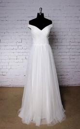 Wedding Ruched Pleats Off-Shoulder Plain Dress