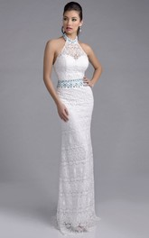 Halter Sheath Lace Prom Dress With Rhinestones On Waist And Neck