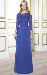 Chiffon Broach Draping Lace Long-Sleeve Gown